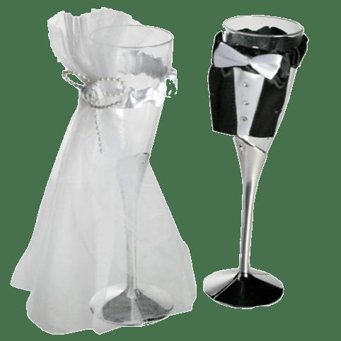 Champagneglazen als decoratie op uw feestje, huwelijk