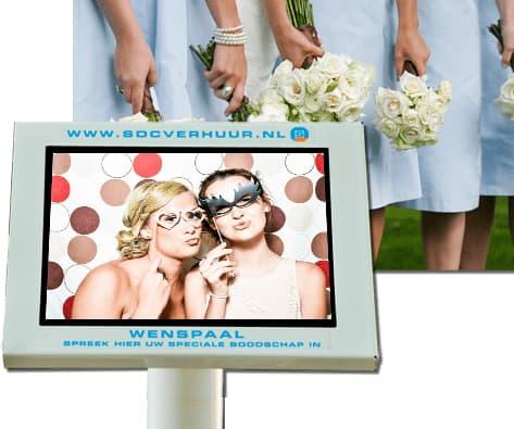 Videozuil huren, een digitaal videogastenboek, laat uw gasten een videoboodschap inspreken