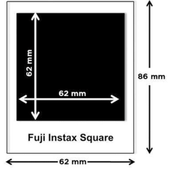 Afmetingen FujiFilm Instax Square foto - Fotoformaat - Huur Polaroid camera